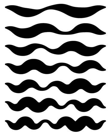 Insieme di elementi di linea ondulata, ondulata, a zig-zag. Linee con effetto ondeggiante