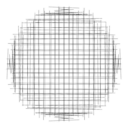 Crosshatch, tangle lines circle. Scribble, sketchy random intersecting lines grid, mesh. Abstract geometric circle. Sketch circular element. Criss-cross stripes