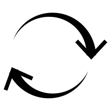 Circulaire, flèche circulaire à droite. Icône de flèche radiale, symbole. Rotation dans le sens des aiguilles d'une montre, tourbillon, élément de concept de torsion. Tourner, pointeur de vortex. Whirlpool, forme de curseur de boucle Vecteurs