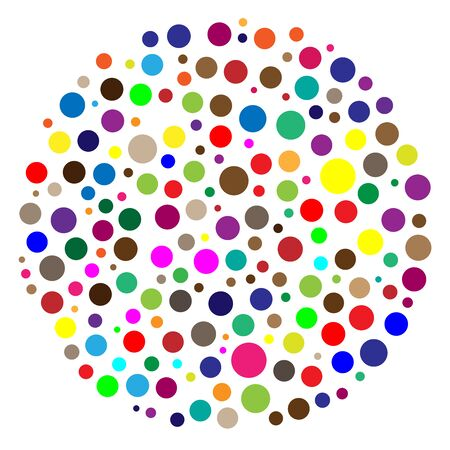 Random circles, dots. Pointillist polka-dots. Scattered colorful, multicolor circles design element