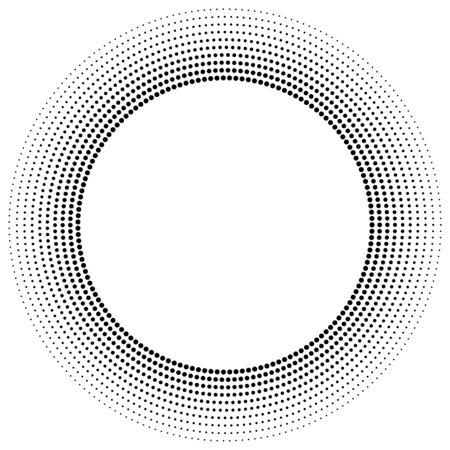 half tone dots, dotted, polka dots circle element, pattern. stipple, speckle halftone illustration. radial, radiating spiral. circular, concentric burst. diffuse swirl, twirl, vortex of freckles Reklamní fotografie - 130281072