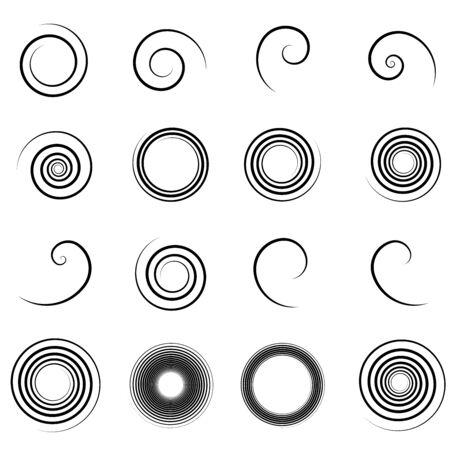 """Abstracte spiraal, draai. """"Bine"""", """"tendril"""" ontwerpelement. Radiale werveling, twirl golvende, bochtige lijnen. Cirkelvormige, concentrische lus. Draaien, roteren, werveling ontwerp. Wervelwind, whirlpool illustratie. Vortex patroon"""