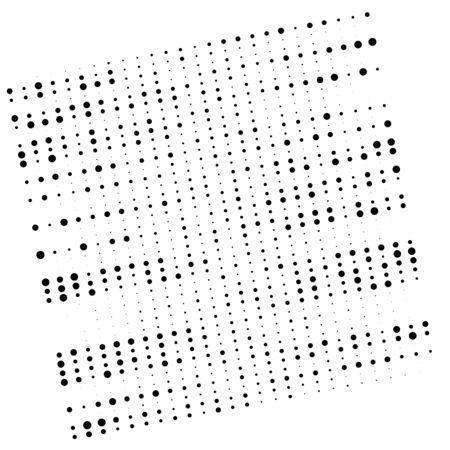 Random dots, dotted lines. Stripes of circles half-tone illustration. Speckle, stipple pattern. Sporadic, erratic flecks, specks. Halftone pattern. Polka dots, screentone. Sprinkle, strew