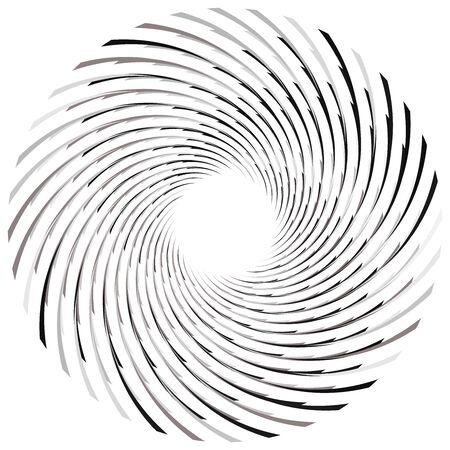 Abstrakte Spirale, Drehung. Radialer Wirbel, Wirbel kurviges, welliges Linienelement. Kreisförmiges, konzentrisches Schleifenmuster. Drehen, Wirbel-Design. Wirbelwind, Whirlpoolillustration