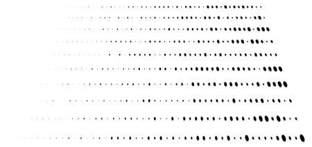 Random dots, dotted lines. Stripes of circles half-tone illustration. Speckle, stipple pattern. Sporadic, erratic flecks, specks. Halftone pattern. Polka dots, screentone. Sprinkle, strew freckles