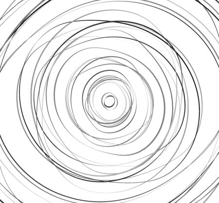 Concentric circles. Radial, radiating rings. Abstract circular illustration. Irregular concentric lines. Çizim