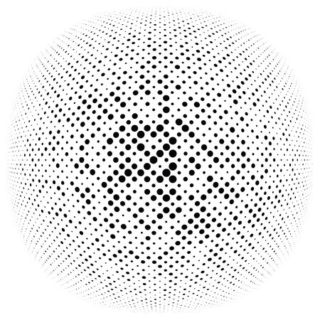 Half-tone dots, circles, dotted element. Sphere, orb or globe distortion speckles. Diffuse radial, radiating bloat, bulge warp. Polka-dot inflate design. Circular geometric pattern, abstract circles Standard-Bild - 130074697