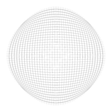 Orb, sphere of lines. round, globular, spheric grid, mesh. ball-shaped orb, circle made of thin lines. convex globe made with protrusion, bumped lines
