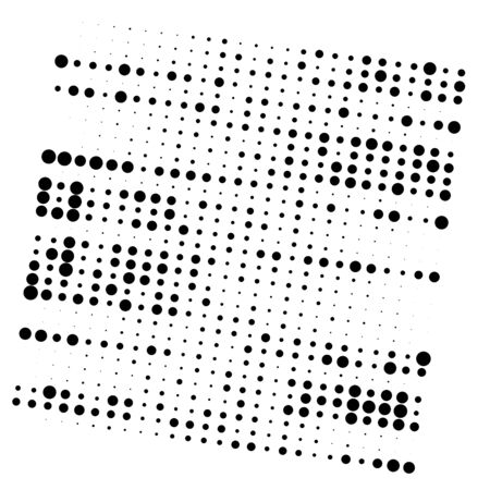 Random dots, dotted lines. Stripes of circles half-tone illustration. Speckle, stipple pattern. Sporadic, erratic flecks, specks. Halftone pattern. Polka dots, screentone. Sprinkle, strew