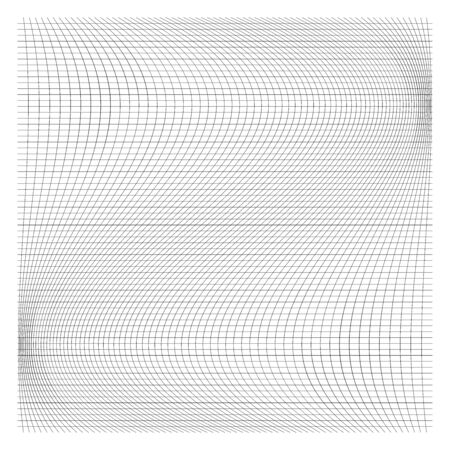 Wavy, waving thin lines. Camber, crook, squeeze stretch distortion on grid, mesh. Billow deformation on array of intersecting lines. Undulating stripes. Abstract geometric pattern  graphic element.