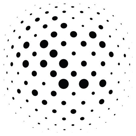 Half-tone dots, circles, dotted element. Sphere, orb or globe distortion speckles. Diffuse radial, radiating bloat, bulge warp. Polka-dot inflate design. Circular geometric pattern, abstract circles Standard-Bild - 130299235