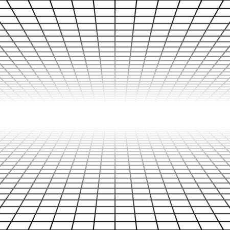 Malla, cuadrícula en perspectiva se desvanecen, disminuyen a horizonte lejano. Procesamiento de espacio virtual 3D. Horizonte convergen antecedentes abstractos. Ilustración 3D de profundidad. El plano inclinado desaparece, el ciberespacio de la habitación vacía
