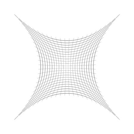 Indented, curved mesh / grid / array of thin lines. Oblate, squeezed, distressed geometric element. Compressed shape