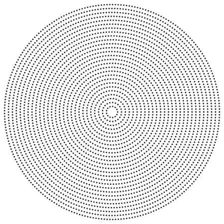 half tone dots, dotted, polka dots circle element, pattern. stipple, speckle halftone illustration. radial, radiating spiral. circular, concentric burst. diffuse swirl, twirl, vortex of freckles