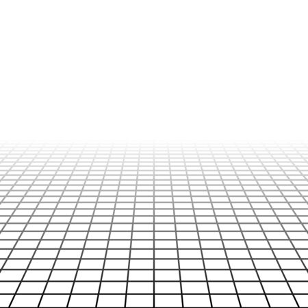 Mesh, grid in perspective vanish, diminish to distant horizon. Virtual 3D space render. Skyline converge abstract background. Depth 3D illustration. Incline plane disappear, empty room cyberspace Illustration