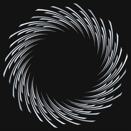 Abstract spiral, twist. Radial swirl, twirl curvy, wavy lines element. Circular, concentric loop pattern. Revolve, whirl design. Whirlwind, whirlpool illustration Ilustração