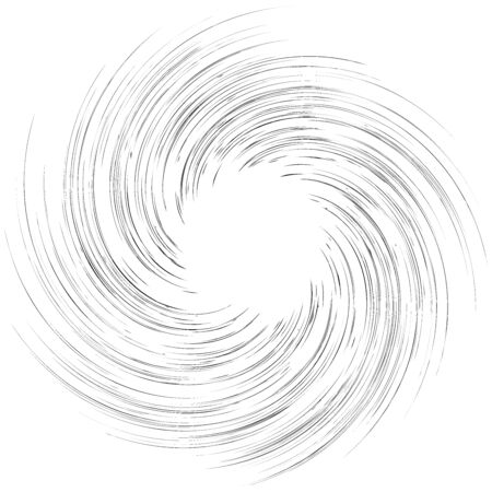 Detailed twirl, spiral element. Whirlpool, whirligig effect. Circular, rotating burst lines. Whirl radial spokes. Coil, twirl abstract shape Иллюстрация