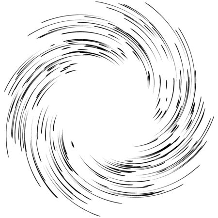 Detailed twirl, spiral element. Whirlpool, whirligig effect. Circular, rotating burst lines. Whirl radial spokes. Coil, twirl abstract shape