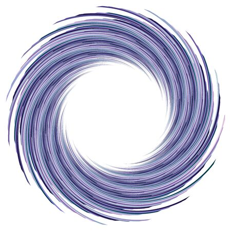 Abstract spiral, twist. Radial swirl, twirl curvy, wavy lines element. Circular, concentric loop pattern. Revolve, whirl design. Whirlwind, whirlpool illustration Illustration