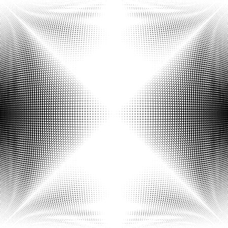 Half-tone dots. Dotted, circles pattern. Sphere, orb or globe distortion speckles. Diffuse radial, radiating bulge, bloat warp. Polka-dot inflate design. Abstract circles circular geometric pattern Banco de Imagens - 130148816