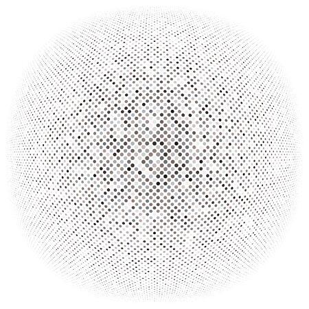 Halbtonpunkte, Kreise, gepunktetes Element. Kugel-, Kugel- oder Globusverzerrungsflecken. Diffuse radiale, ausstrahlende Aufblähung, Wulstverwerfung. Aufblasbares Polka-Dot-Design. Kreisförmiges geometrisches Muster, abstrakte Kreise