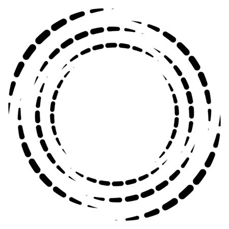 Segmented circle with rotation.Circular and radial Dashed lines volute, helix. Abstract concentric circle.Spiral, swirl, twirl element.   Radiating arc lines. Geometric cochlear, vortex illustration Illustration