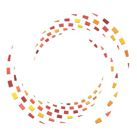 Segmented circle with rotation.Circular and radial Dashed lines volute, helix. Abstract concentric circle.Spiral, swirl, twirl element.   Radiating arc lines. Geometric cochlear, vortex illustration Ilustrace