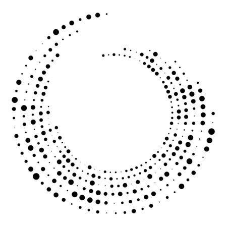 Random dotted, dots, halftone speckles concentric circle.Spiral, swirl, twirl element.Circular and radial lines volute, helix.Segmented circle with rotation.Radiating arc.Cochlear, vortex illustration Reklamní fotografie - 130381737