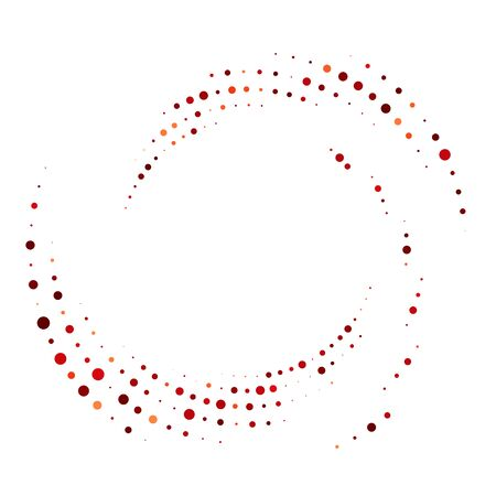 Random dotted, dots, halftone speckles concentric circle.Spiral, swirl, twirl element.Circular and radial lines volute, helix.Segmented circle with rotation.Radiating arc.Cochlear, vortex illustration Ilustração Vetorial