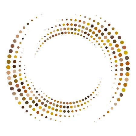 Dotted, dots, speckles abstract concentric circle. Spiral, swirl, twirl element.Circular and radial lines volute, helix.Segmented circle with rotation.Radiating arc lines.Cochlear, vortex illustration Reklamní fotografie - 130381827