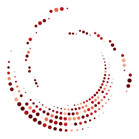 Dotted, dots, speckles abstract concentric circle. Spiral, swirl, twirl element.Circular and radial lines volute, helix.Segmented circle with rotation.Radiating arc lines.Cochlear, vortex illustration