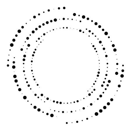 Random dotted, dots, halftone speckles concentric circle.Spiral, swirl, twirl element.Circular and radial lines volute, helix.Segmented circle with rotation.Radiating arc.Cochlear, vortex illustration