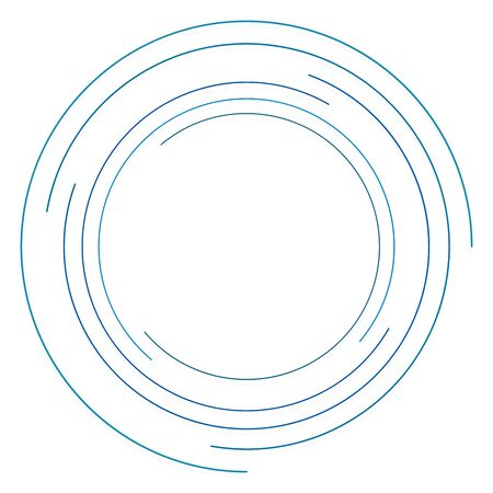 Abstract concentric circle. Spiral, swirl, twirl element. Circular and radial lines volute, helix. Segmented circle with rotation. Abstract radiating arc lines. Geometric cochlear, vortex illustration Ilustração