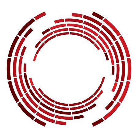 Cercle segmenté avec rotation.Volute de lignes pointillées circulaires et radiales, hélice. Cercle concentrique abstrait. Spirale, tourbillon, élément de tourbillon. Lignes d'arc rayonnant. Cochléaire géométrique, illustration vortex Vecteurs