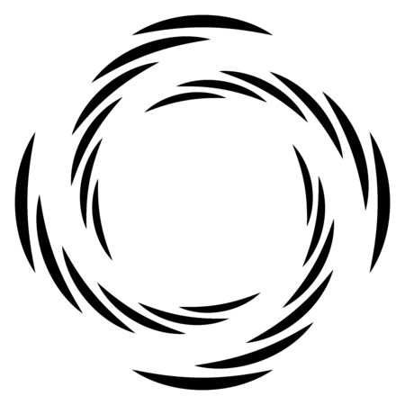 Abstract concentric circle. Spiral, swirl, twirl element. Circular and radial lines volute, helix. Segmented circle with rotation. Abstract radiating arc lines. Geometric cochlear, vortex illustration Illustration