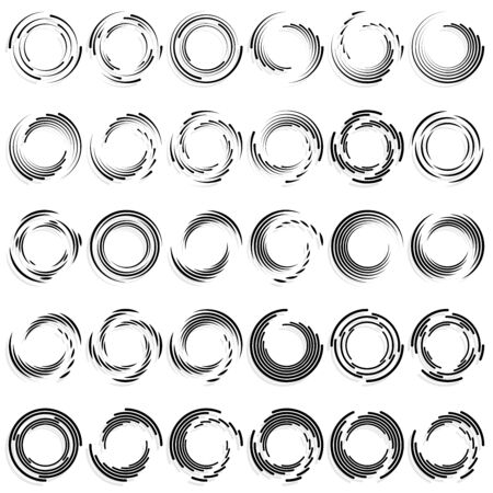 Abstract concentric circle. Spiral, swirl, twirl element. Circular and radial lines volute, helix. Segmented circle with rotation. Abstract radiating arc lines. Geometric cochlear, vortex illustration Ilustrace