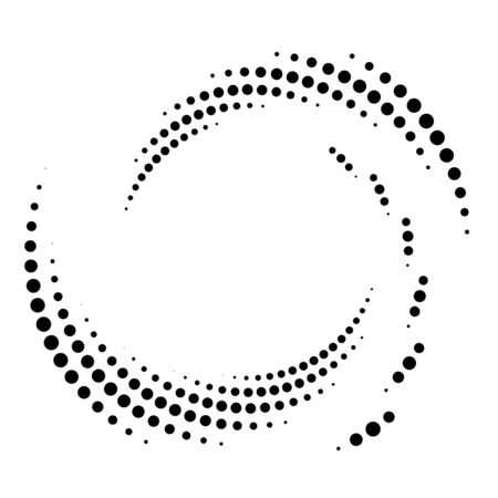 Dotted, dots, speckles abstract concentric circle. Spiral, swirl, twirl element.Circular and radial lines volute, helix.Segmented circle with rotation.Radiating arc lines.Cochlear, vortex illustration Reklamní fotografie - 130381027