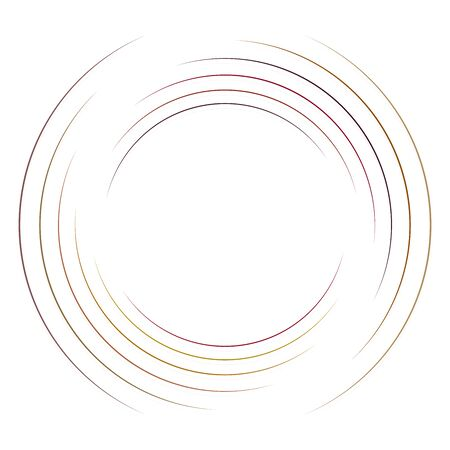 Abstract concentric circle. Spiral, swirl, twirl element. Circular and radial lines volute, helix. Segmented circle with rotation. Abstract radiating arc lines. Geometric cochlear, vortex illustration Reklamní fotografie - 130381033