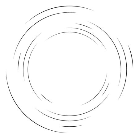 Abstract concentric circle. Spiral, swirl, twirl element. Circular and radial lines volute, helix. Segmented circle with rotation. Abstract radiating arc lines. Geometric cochlear, vortex illustration