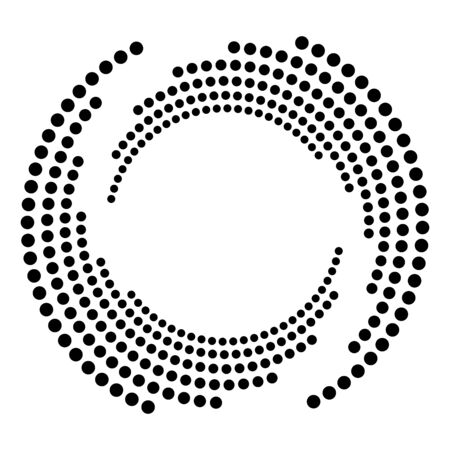 Dotted, dots, speckles abstract concentric circle. Spiral, swirl, twirl element.Circular and radial lines volute, helix.Segmented circle with rotation.Radiating arc lines.Cochlear, vortex illustration Reklamní fotografie - 130381002