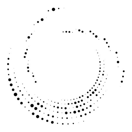 Random dotted, dots, halftone speckles concentric circle.Spiral, swirl, twirl element.Circular and radial lines volute, helix.Segmented circle with rotation.Radiating arc.Cochlear, vortex illustration Reklamní fotografie - 130381013