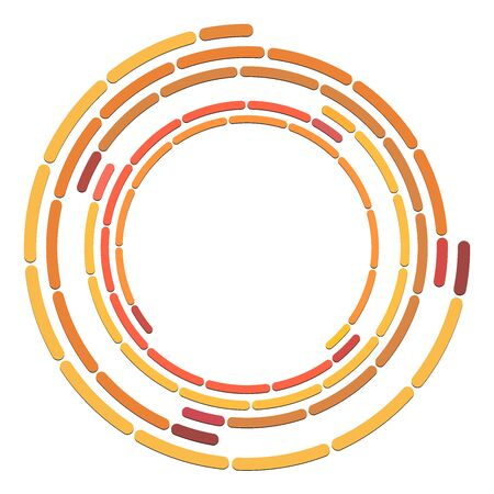 Segmented circle with rotation.Circular and radial Dashed lines volute, helix. Abstract concentric circle.Spiral, swirl, twirl element.   Radiating arc lines. Geometric cochlear, vortex illustration Ilustração