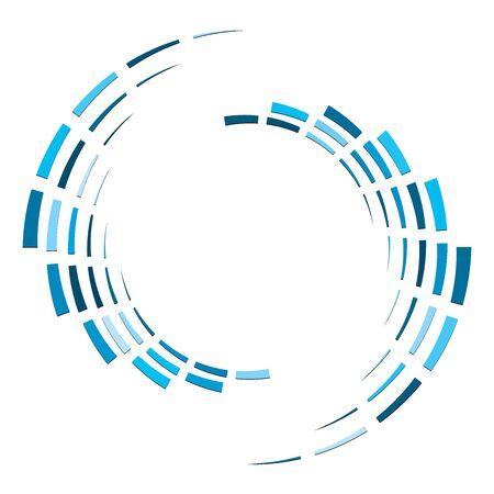 Cercle segmenté avec rotation.Volute de lignes pointillées circulaires et radiales, hélice. Cercle concentrique abstrait. Spirale, tourbillon, élément de tourbillon. Lignes d'arc rayonnant. Cochléaire géométrique, illustration vortex