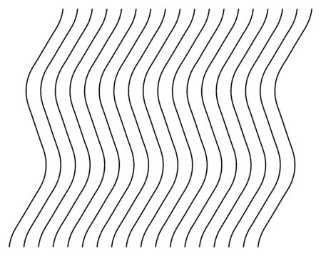 Abstract wavy, waving (zigzag) lines element. Vertical lines, stripes with billowy, undulate distortion effect. Curvy, squiggle parallel stripes. Oscillation, pulse warp effect element