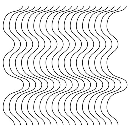 Abstract wavy, waving (zigzag) lines element. Vertical lines, stripes with billowy, undulate distortion effect. Curvy, squiggle parallel stripes. Oscillation, pulse warp effect element Illusztráció