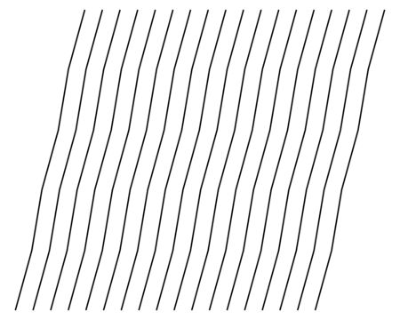 Abstract wavy, waving (zigzag) lines element. Vertical lines, stripes with billowy, undulate distortion effect. Curvy, squiggle parallel stripes. Oscillation, pulse warp effect element Illustration