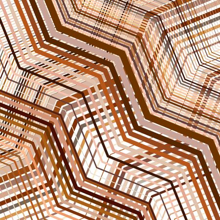 Wavy, waving texture, pattern. Grid, mesh of lines, stripes with billowy, undulating (zigzag) distortion. Abstract geometric background Ilustracja