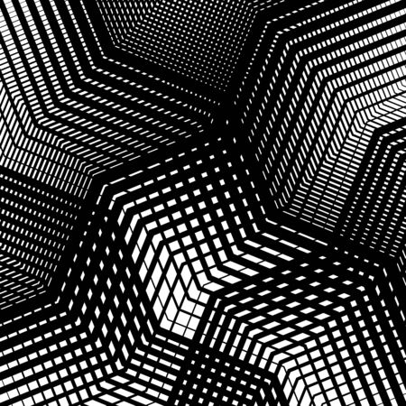 Texture, pattern with wavy, waving grid, mesh of lines. Billowy, zig-zag (criss-cross), undulating stripes, streaks. Abstract geometric background Illusztráció