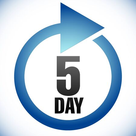 5 day Turnaround time (TAT) icon. Interval for processing, return to customer. Duration, latency for completion, request fulfilling