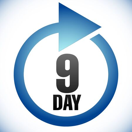 9 day Turnaround time (TAT) icon. Interval for processing, return to customer. Duration, latency for completion, request fulfilling
